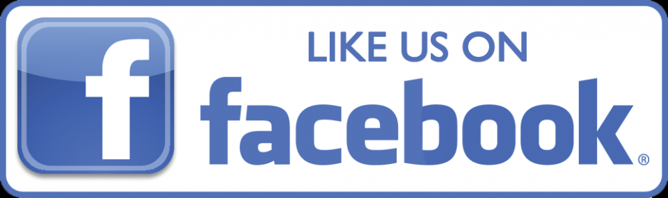 Like Us On Facebook rectangular blue outline white background